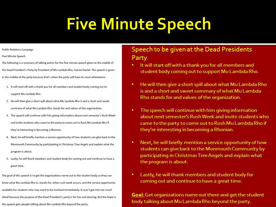 Speech to be given at the Dead Presidents Party.