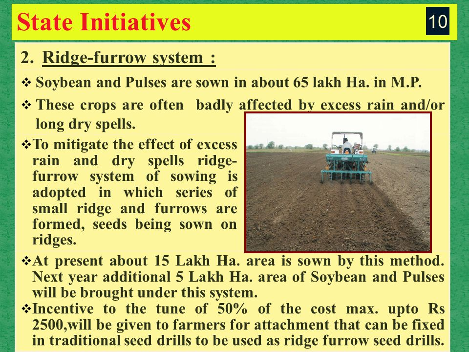 State Initiatives 2.Ridge-furrow system :  Soybean and Pulses are sown in about 65 lakh Ha.
