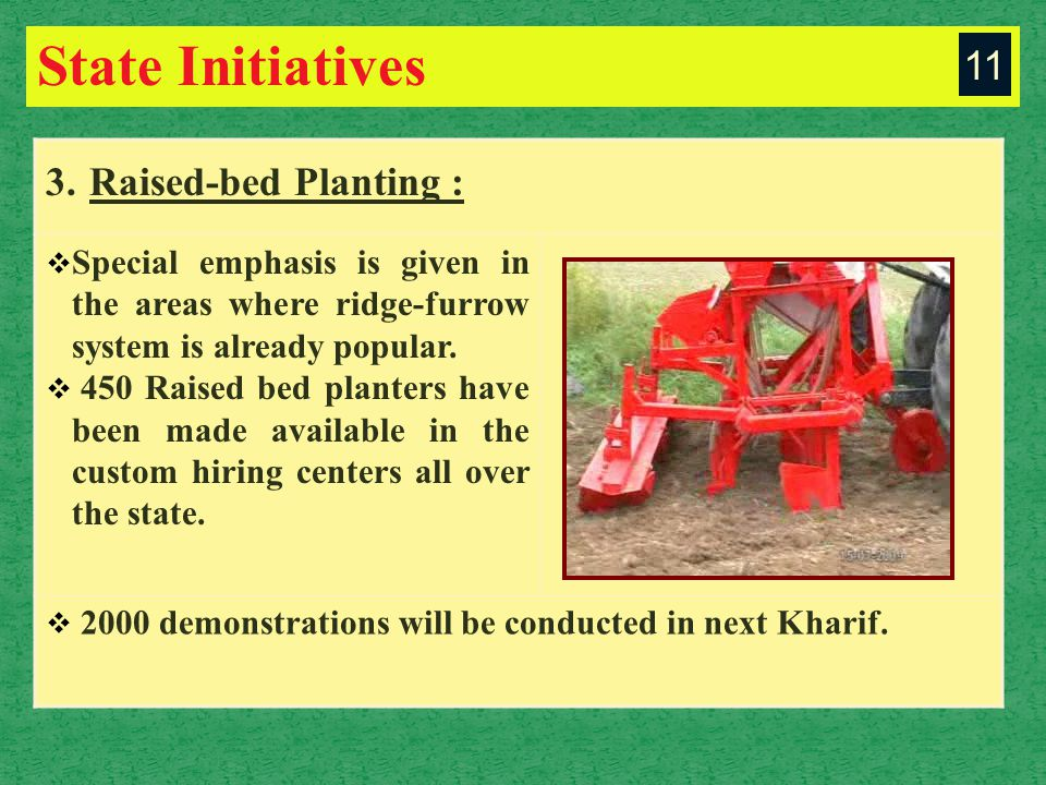 State Initiatives 3. Raised-bed Planting :  Special emphasis is given in the areas where ridge-furrow system is already popular.  450 Raised bed pla