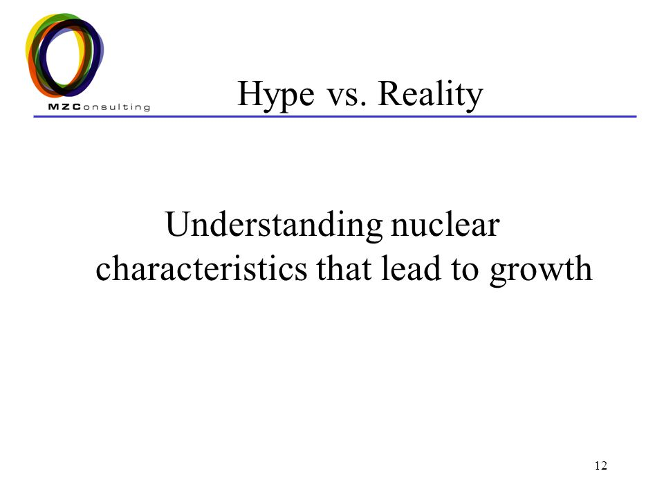 12 Hype vs. Reality Understanding nuclear characteristics that lead to growth