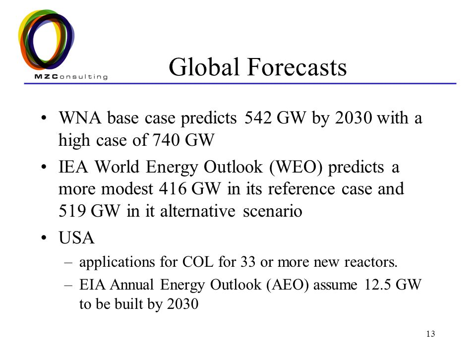13 Global Forecasts WNA base case predicts 542 GW by 2030 with a high case of 740 GW IEA World Energy Outlook (WEO) predicts a more modest 416 GW in i