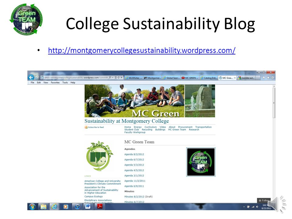 College Sustainability Blog http://montgomerycollegesustainability.wordpress.com/