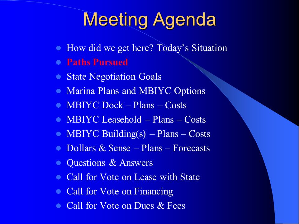 Meeting Agenda How did we get here.