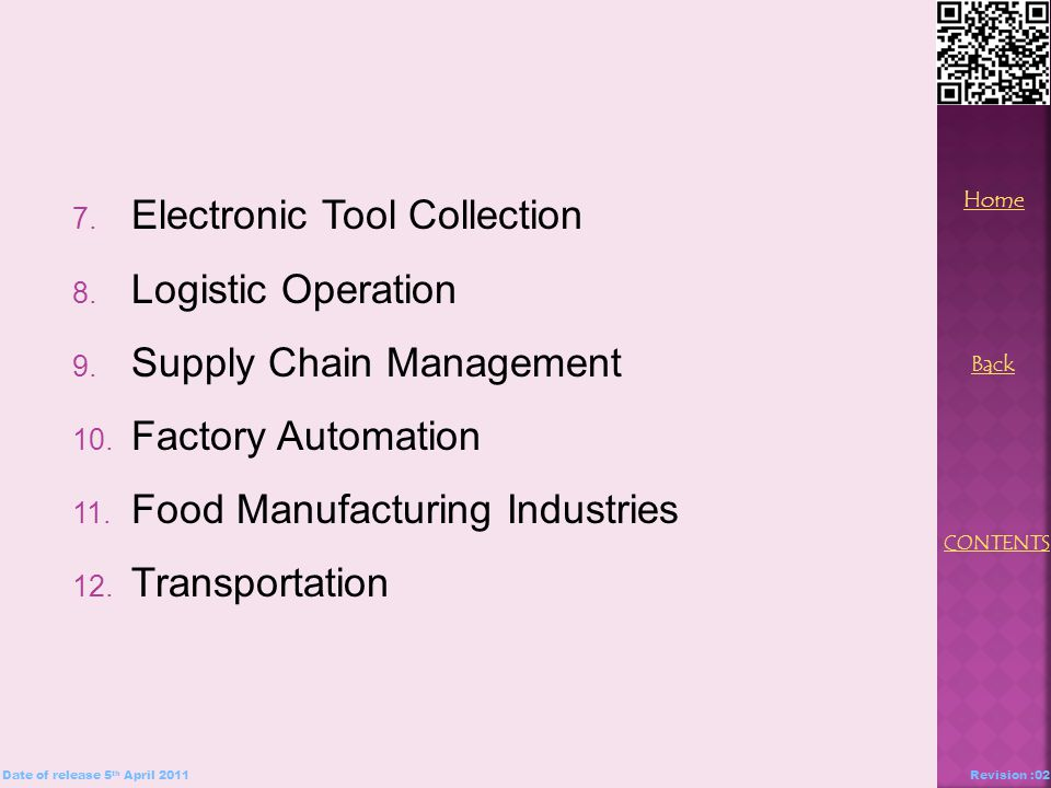 7. Electronic Tool Collection 8. Logistic Operation 9.