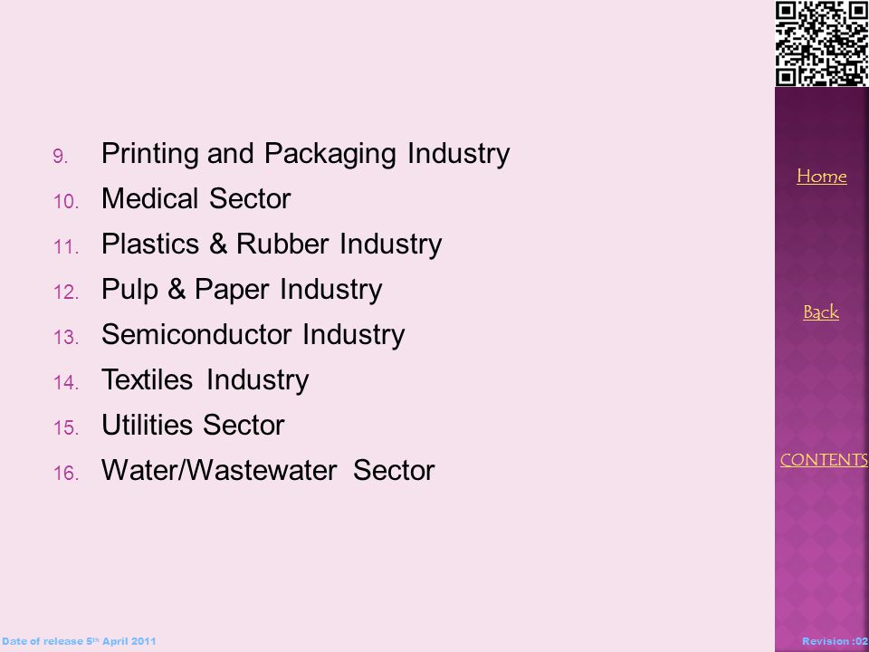 9. Printing and Packaging Industry 10. Medical Sector 11.