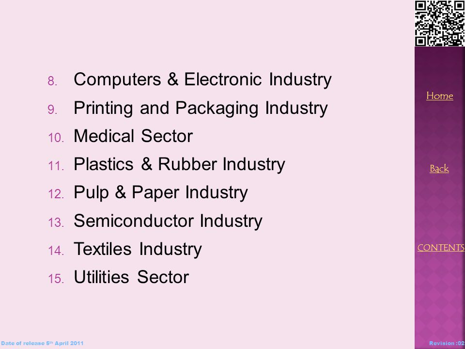 8. Computers & Electronic Industry 9. Printing and Packaging Industry 10.