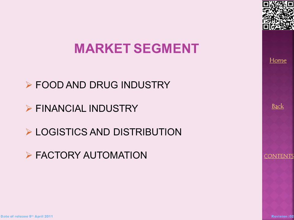 MARKET SEGMENT  FOOD AND DRUG INDUSTRY  FINANCIAL INDUSTRY  LOGISTICS AND DISTRIBUTION  FACTORY AUTOMATION Back Home CONTENTS Date of release 5 th April 2011Revision :02