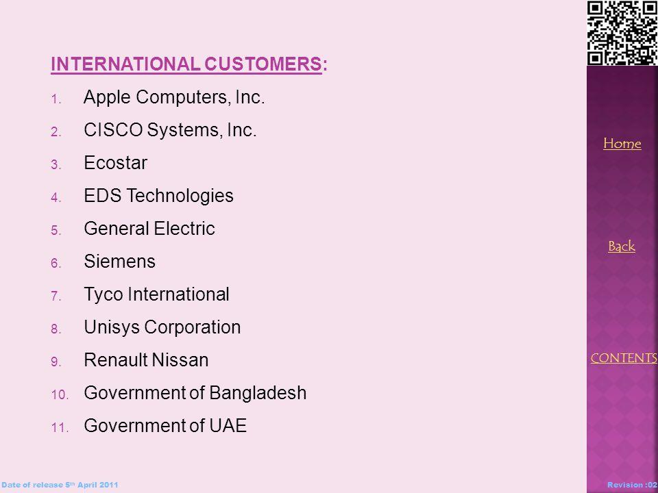 INTERNATIONAL CUSTOMERS: 1. Apple Computers, Inc.