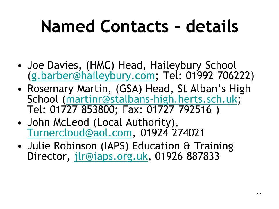 Named Contacts - details Joe Davies, (HMC) Head, Haileybury School (g.barber@haileybury.com; Tel: 01992 706222)g.barber@haileybury.com Rosemary Martin, (GSA) Head, St Alban's High School (martinr@stalbans-high.herts.sch.uk; Tel: 01727 853800; Fax: 01727 792516 )martinr@stalbans-high.herts.sch.uk John McLeod (Local Authority), Turnercloud@aol.com, 01924 274021 Turnercloud@aol.com Julie Robinson (IAPS) Education & Training Director, jlr@iaps.org.uk, 01926 887833jlr@iaps.org.uk 11