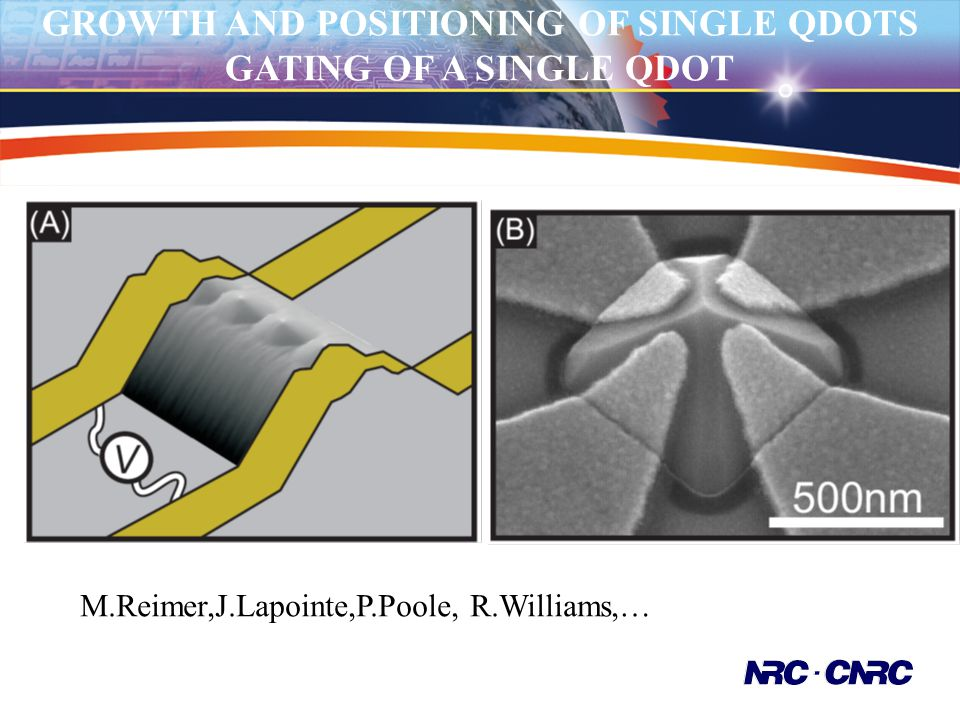 GROWTH AND POSITIONING OF SINGLE QDOTS GATING OF A SINGLE QDOT M.Reimer,J.Lapointe,P.Poole, R.Williams,…