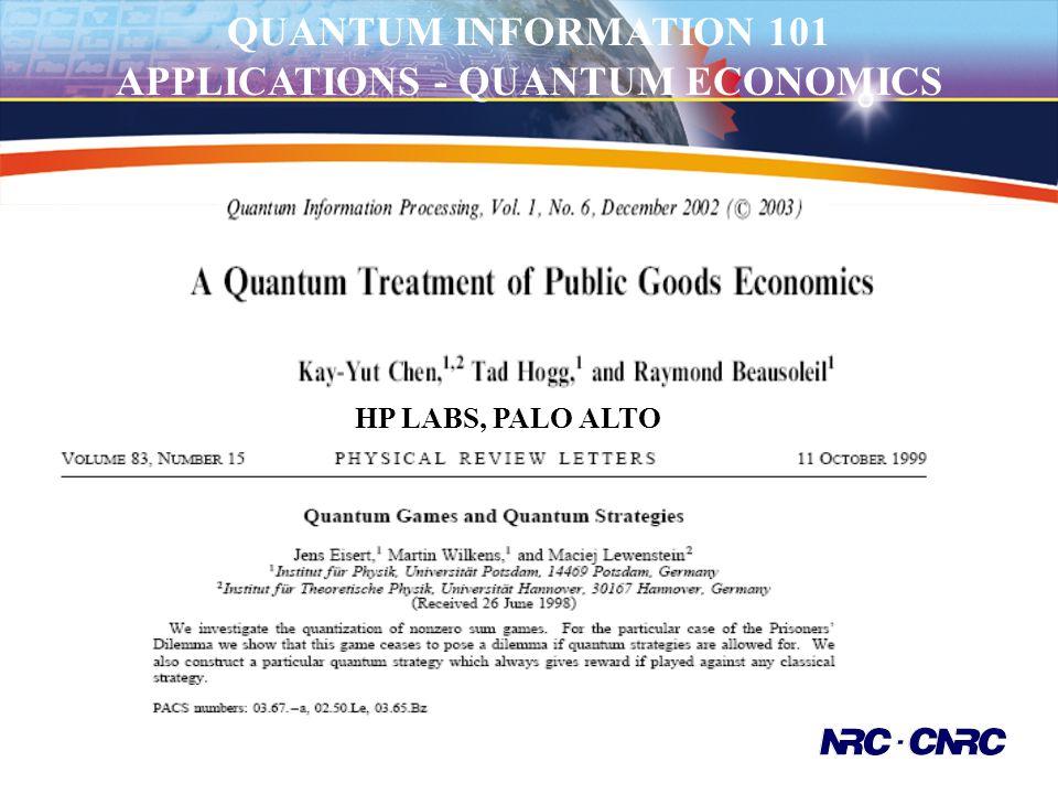 Quantum Groups Worldwide QUANTUM INFORMATION 101 APPLICATIONS - QUANTUM ECONOMICS HP LABS, PALO ALTO
