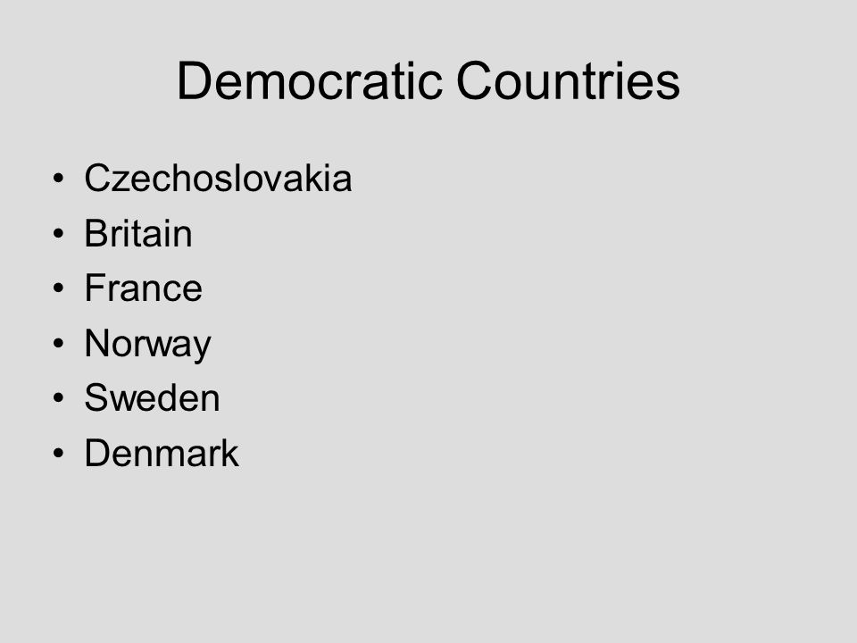 Democratic Countries Czechoslovakia Britain France Norway Sweden Denmark