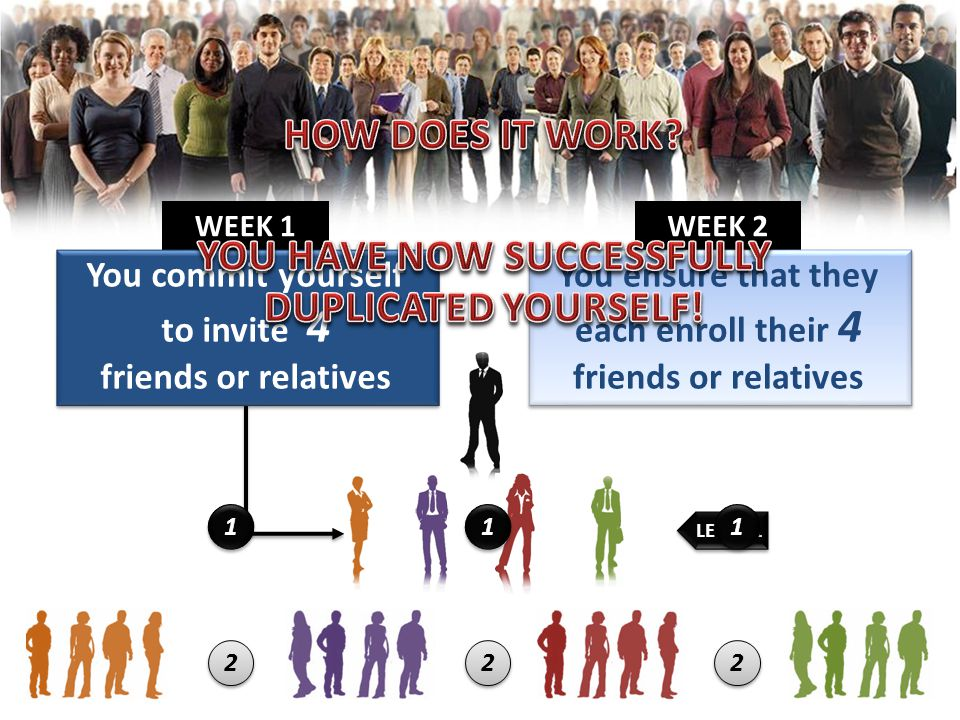 WEEK 2 WEEK 1 You commit yourself to invite 4 friends or relatives You ensure that they each enroll their 4 friends or relatives LEVEL 1 222111