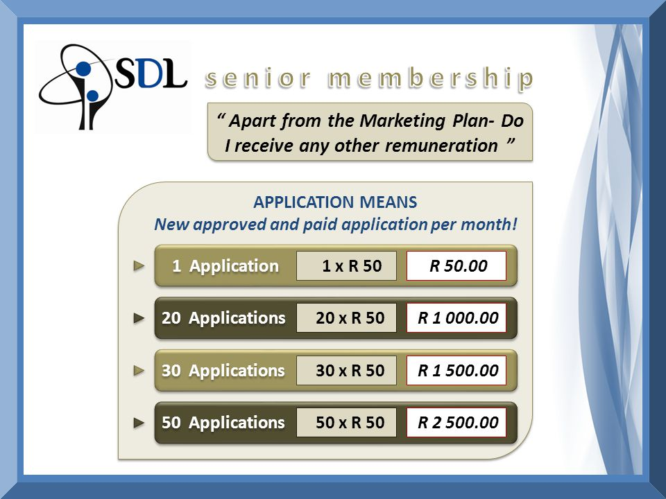 Apart from the Marketing Plan- Do I receive any other remuneration APPLICATION MEANS New approved and paid application per month.
