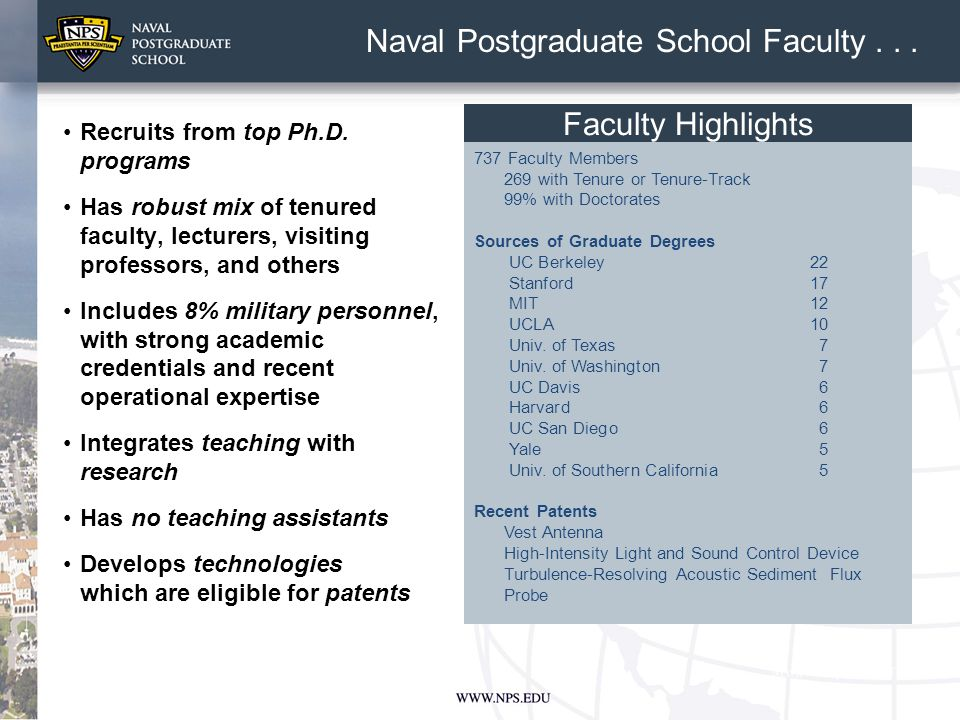 Recruits from top Ph.D. programs Has robust mix of tenured faculty, lecturers, visiting professors, and others Includes 8% military personnel, with st