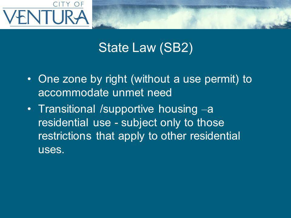 One zone by right (without a use permit) to accommodate unmet need Transitional /supportive housing – a residential use - subject only to those restrictions that apply to other residential uses.