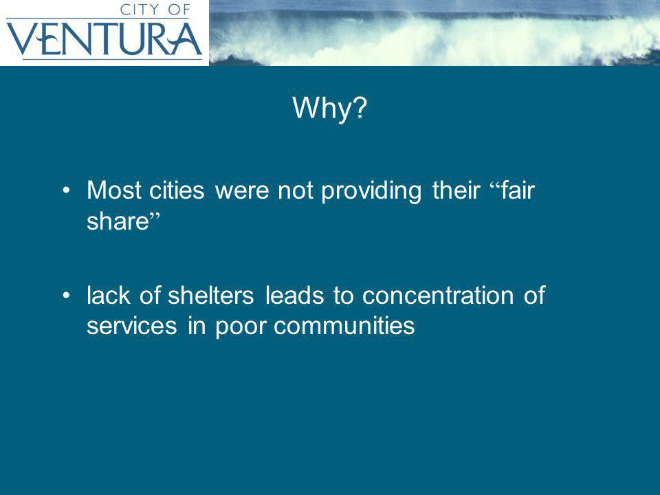 "Most cities were not providing their "" fair share "" lack of shelters leads to concentration of services in poor communities Why?"