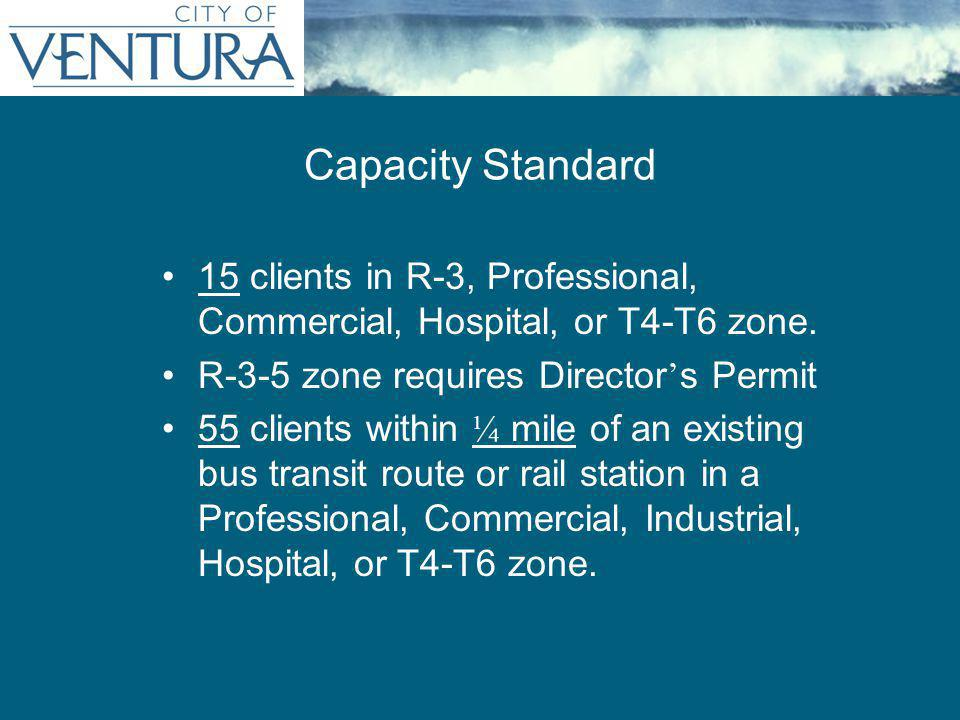 15 clients in R-3, Professional, Commercial, Hospital, or T4-T6 zone. R-3-5 zone requires Director ' s Permit 55 clients within ¼ mile of an existing
