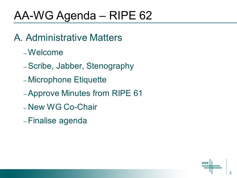 2 AA-WG Agenda – RIPE 62 A.
