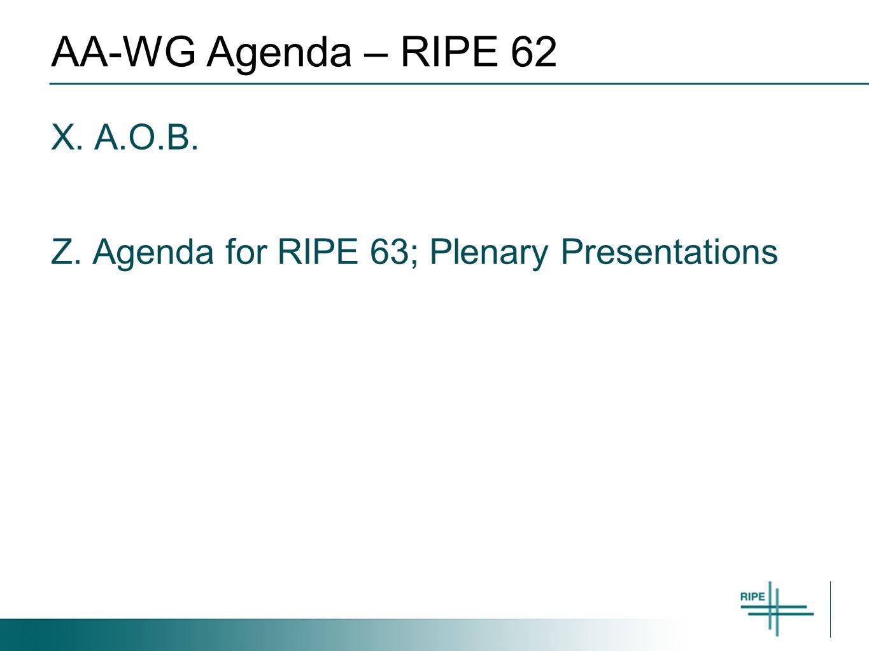 AA-WG Agenda – RIPE 62 X. A.O.B. Z. Agenda for RIPE 63; Plenary Presentations