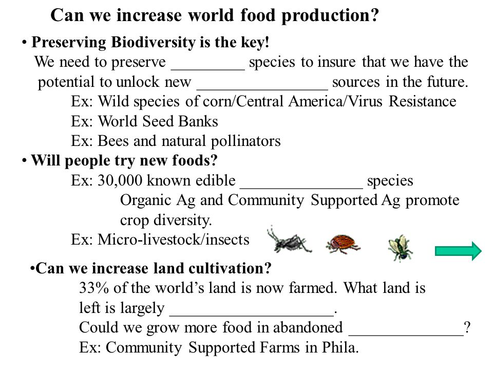 Can we increase world food production.Preserving Biodiversity is the key.