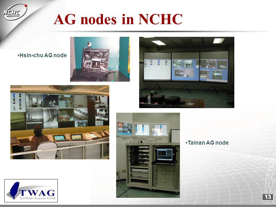 13 Hsin-chu AG node Tainan AG node AG nodes in NCHC