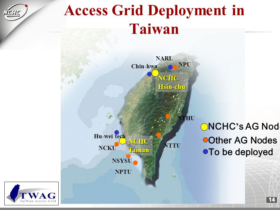 14 NPU Chin-hwa NCKU NSYSU NPTU NTHU NTTU NARL Hu-wei tech NCHCHsin-chu NCHCTainan Access Grid Deployment in Taiwan NCHC ' s AG Nodes Other AG Nodes To be deployed