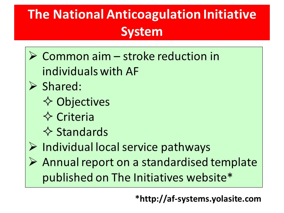 Common aim – stroke reduction in individuals with AF  Shared:  Objectives  Criteria  Standards  Individual local service pathways  Annual repo