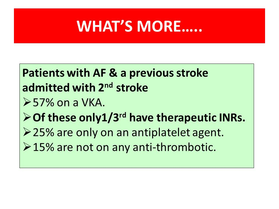 Patients with AF & a previous stroke admitted with 2 nd stroke  57% on a VKA.  Of these only1/3 rd have therapeutic INRs.  25% are only on an antip