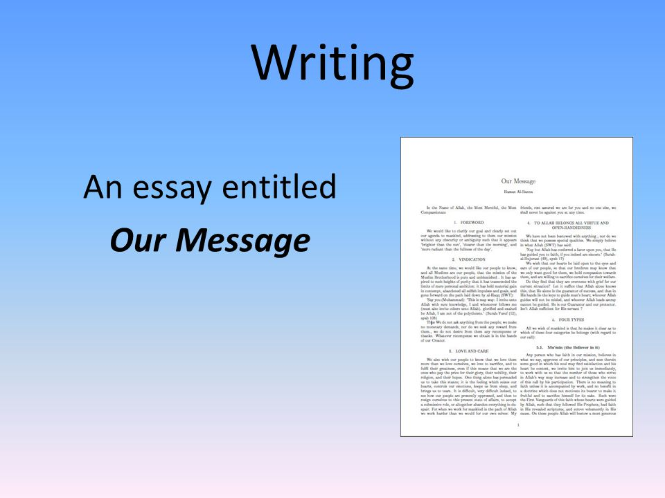 Writing An essay entitled Our Message