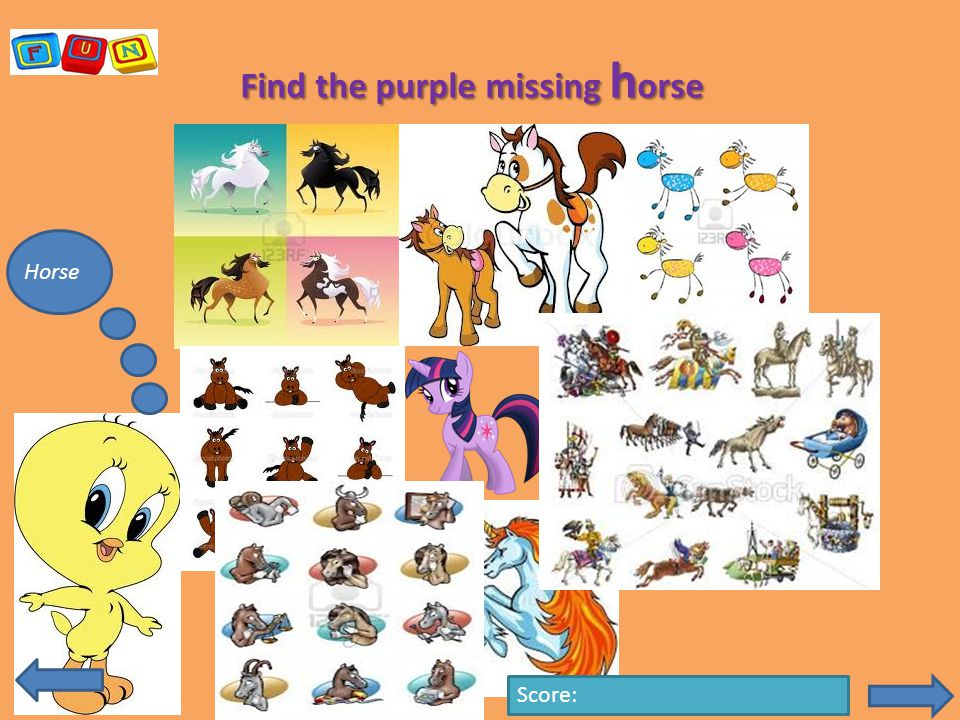 Find the purple missing h orse Horse Score: