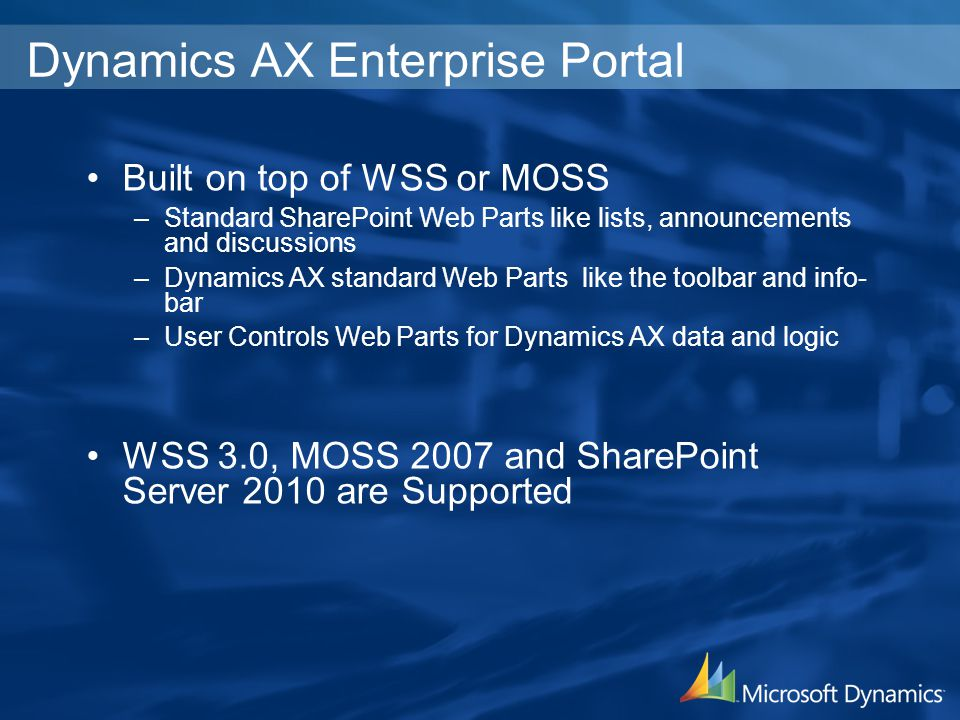 Built on top of WSS or MOSS –Standard SharePoint Web Parts like lists, announcements and discussions –Dynamics AX standard Web Parts like the toolbar and info- bar –User Controls Web Parts for Dynamics AX data and logic WSS 3.0, MOSS 2007 and SharePoint Server 2010 are Supported Dynamics AX Enterprise Portal