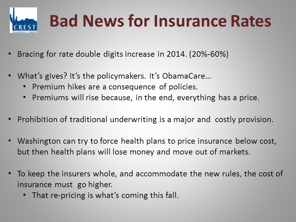 Bad News for Insurance Rates Bracing for rate double digits increase in 2014.