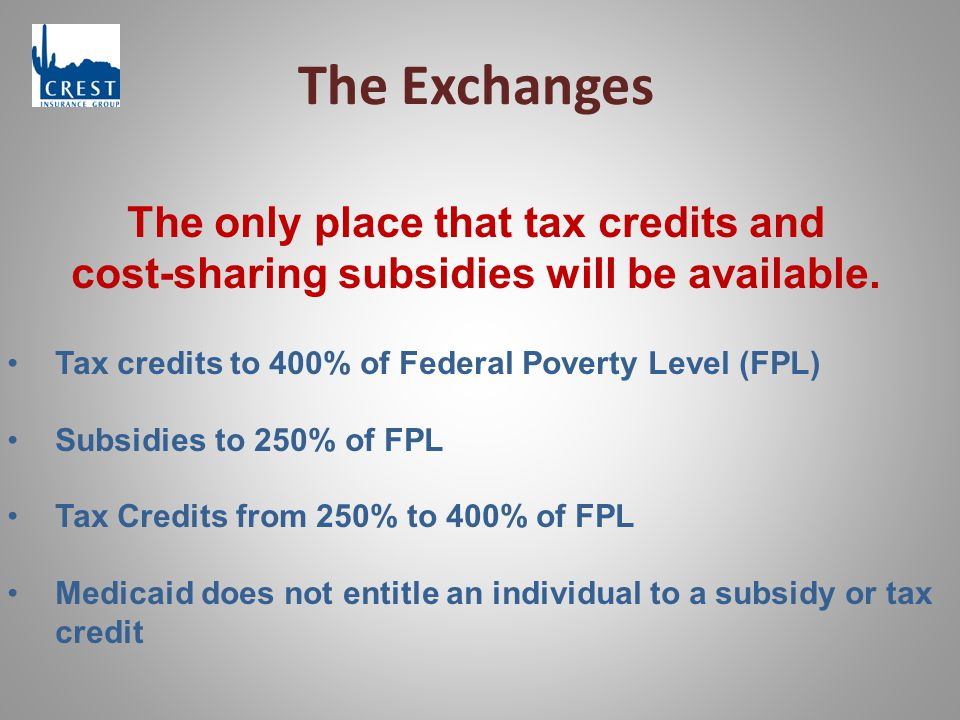The Exchanges The only place that tax credits and cost-sharing subsidies will be available.