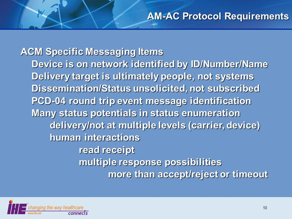 10 AM-AC Protocol Requirements ACM Specific Messaging Items Device is on network identified by ID/Number/Name Delivery target is ultimately people, no