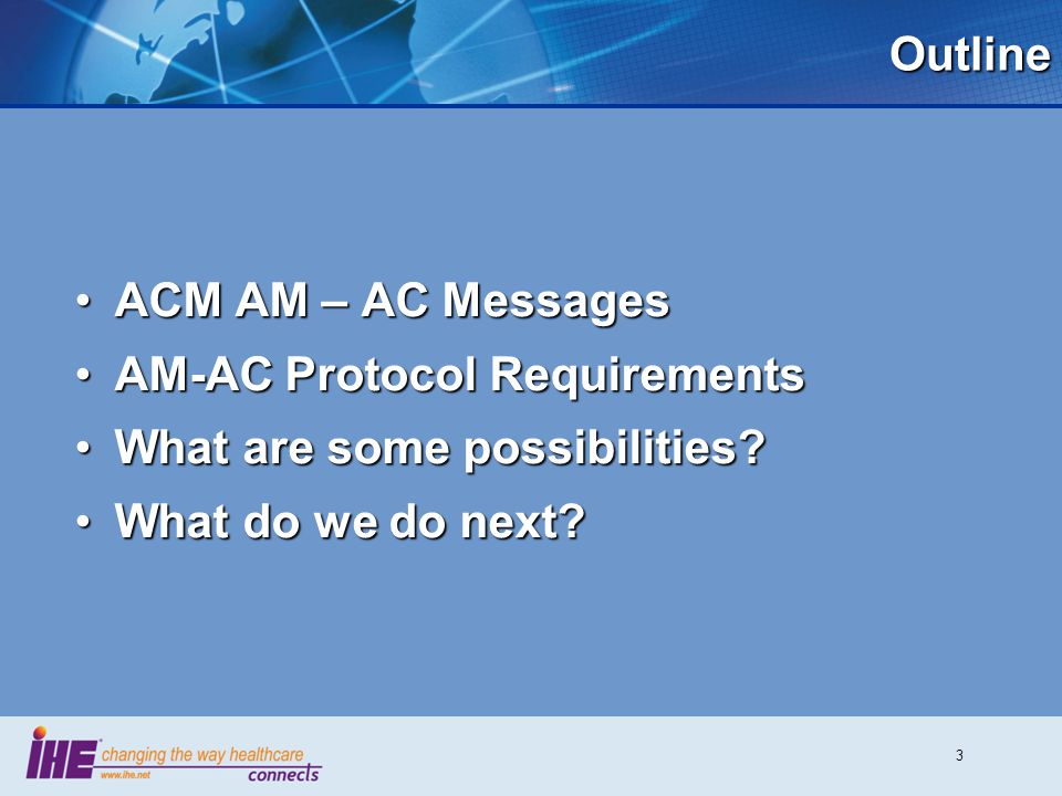 3Outline ACM AM – AC MessagesACM AM – AC Messages AM-AC Protocol RequirementsAM-AC Protocol Requirements What are some possibilities?What are some pos