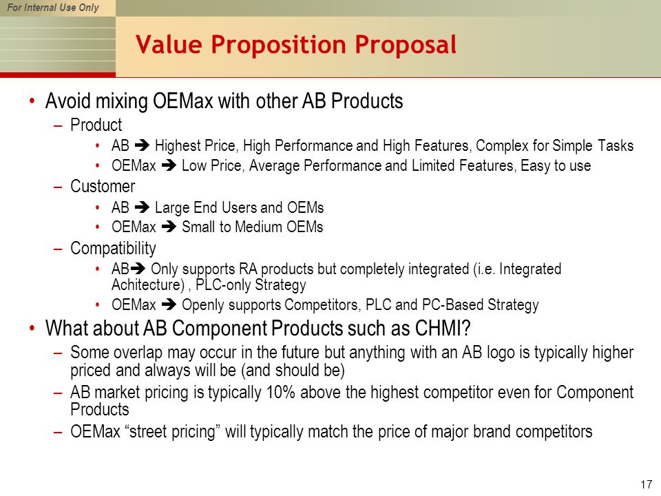 For Internal Use Only 17 Value Proposition Proposal Avoid mixing OEMax with other AB Products –Product AB  Highest Price, High Performance and High Features, Complex for Simple Tasks OEMax  Low Price, Average Performance and Limited Features, Easy to use –Customer AB  Large End Users and OEMs OEMax  Small to Medium OEMs –Compatibility AB  Only supports RA products but completely integrated (i.e.