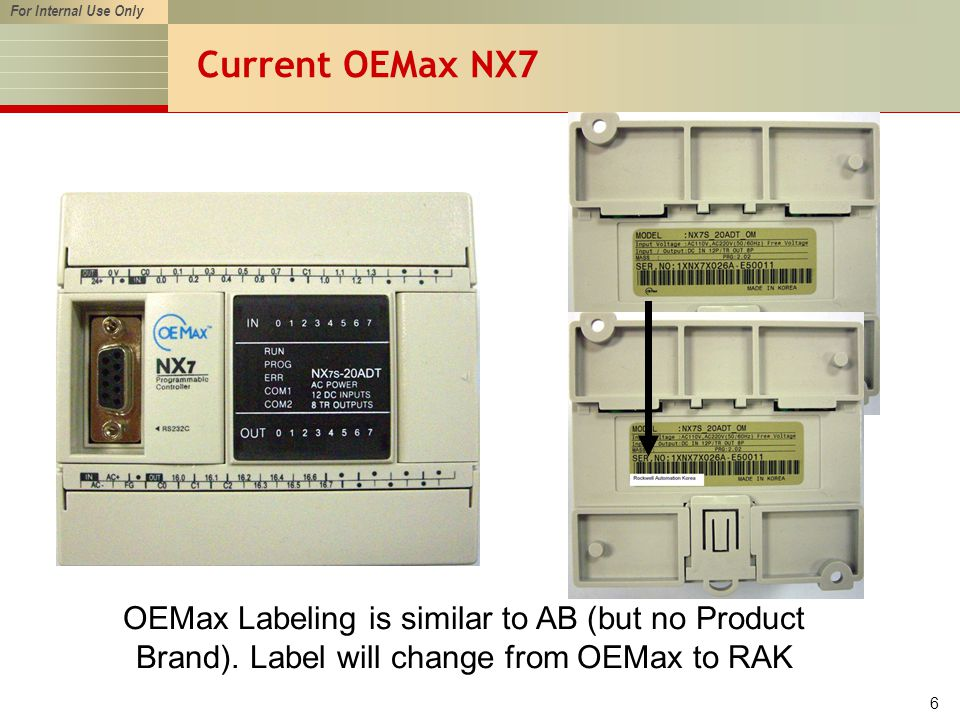 For Internal Use Only 6 Current OEMax NX7 OEMax Labeling is similar to AB (but no Product Brand).