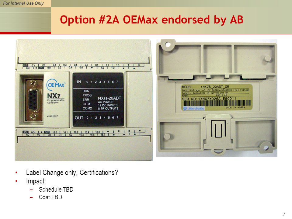 For Internal Use Only 7 Option #2A OEMax endorsed by AB Label Change only, Certifications.