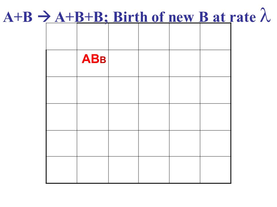 AB B A+B  A+B+B; Birth of new B at rate