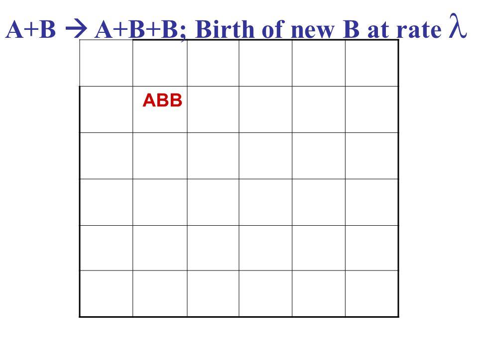 ABB A+B  A+B+B; Birth of new B at rate