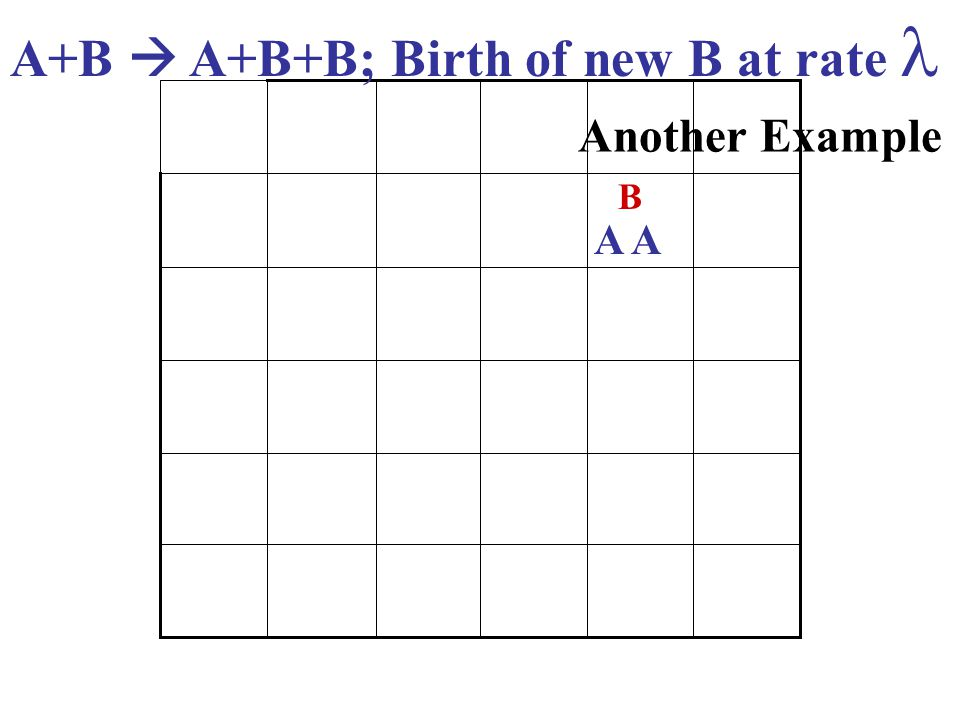 A+B  A+B+B; Birth of new B at rate Another Example A B