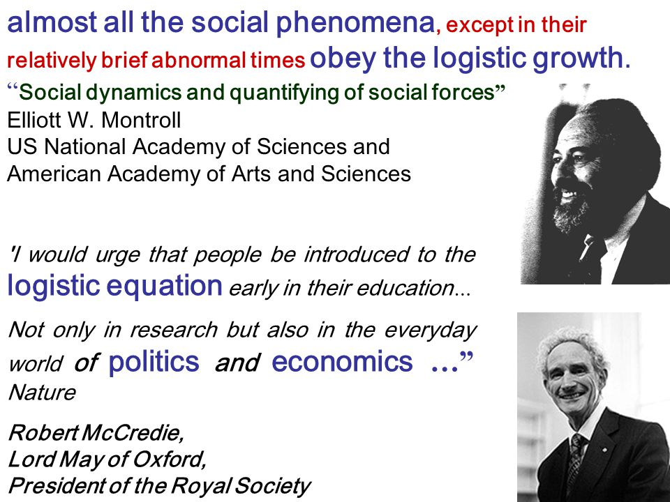 "almost all the social phenomena, except in their relatively brief abnormal times obey the logistic growth. "" Social dynamics and quantifying of social"