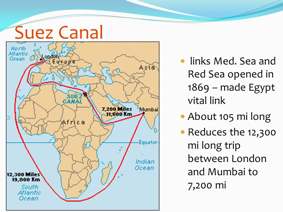 Suez Canal links Med. Sea and Red Sea opened in 1869 – made Egypt vital link About 105 mi long Reduces the 12,300 mi long trip between London and Mumb