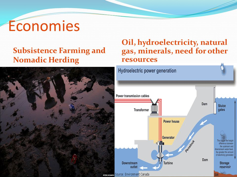Economies Subsistence Farming and Nomadic Herding Oil, hydroelectricity, natural gas, minerals, need for other resources