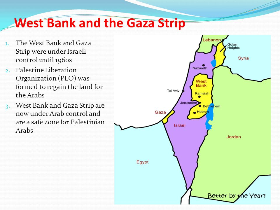 West Bank and the Gaza Strip 1. The West Bank and Gaza Strip were under Israeli control until 1960s 2. Palestine Liberation Organization (PLO) was for