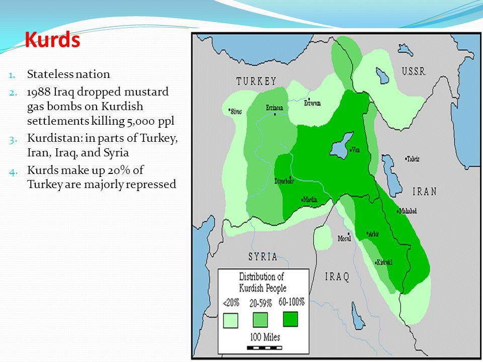 Kurds 1. Stateless nation 2. 1988 Iraq dropped mustard gas bombs on Kurdish settlements killing 5,000 ppl 3. Kurdistan: in parts of Turkey, Iran, Iraq