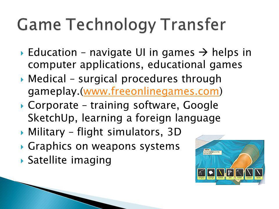  Education – navigate UI in games  helps in computer applications, educational games  Medical – surgical procedures through gameplay.(www.freeonlinegames.com)www.freeonlinegames.com  Corporate – training software, Google SketchUp, learning a foreign language  Military – flight simulators, 3D  Graphics on weapons systems  Satellite imaging