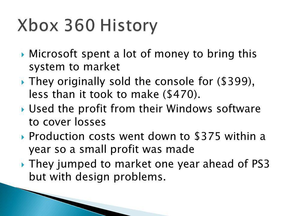  Microsoft spent a lot of money to bring this system to market  They originally sold the console for ($399), less than it took to make ($470).  Use