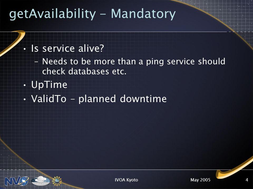 May 2005IVOA Kyoto4 getAvailability - Mandatory Is service alive.